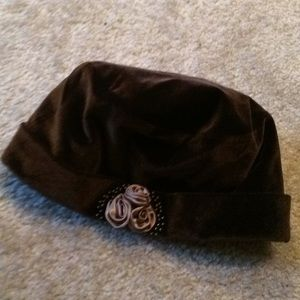 Gorgeous brown velvet hat with rose trim